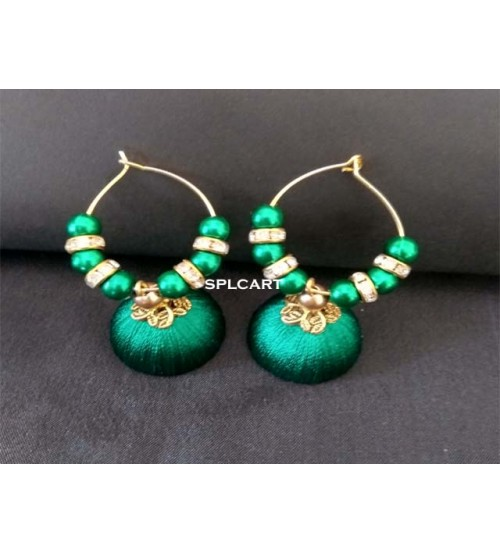 BALI RING SILK THREAD JUMKAS DARK GREEN ONE PAIR